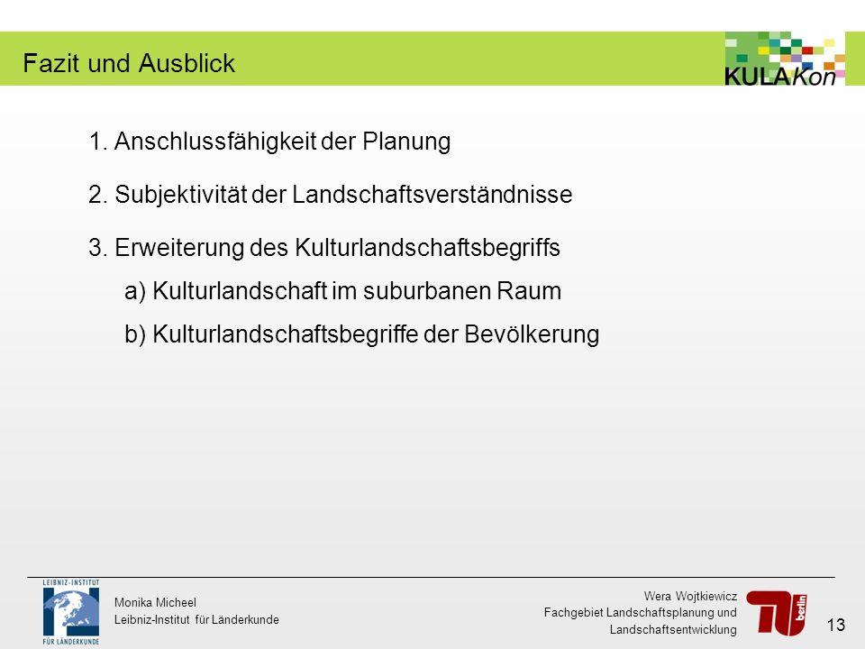 Wera Wojtkiewicz Fachgebiet Landschaftsplanung und Landschaftsentwicklung Monika Micheel Leibniz-Institut für Länderkunde 13 Fazit und Ausblick 1. Ans