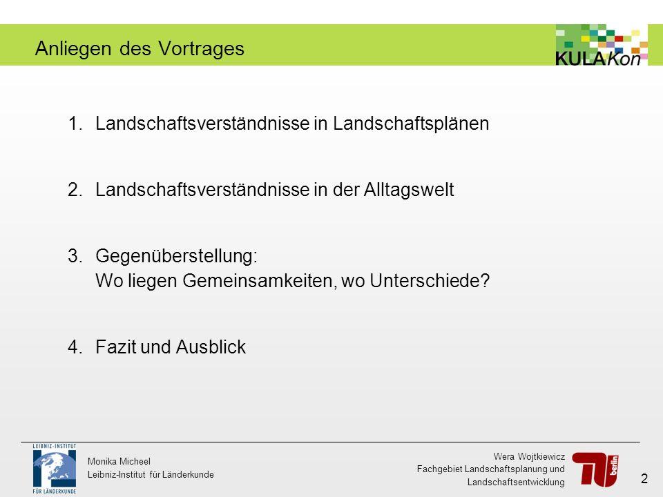 Wera Wojtkiewicz Fachgebiet Landschaftsplanung und Landschaftsentwicklung Monika Micheel Leibniz-Institut für Länderkunde 2 Anliegen des Vortrages 1.L