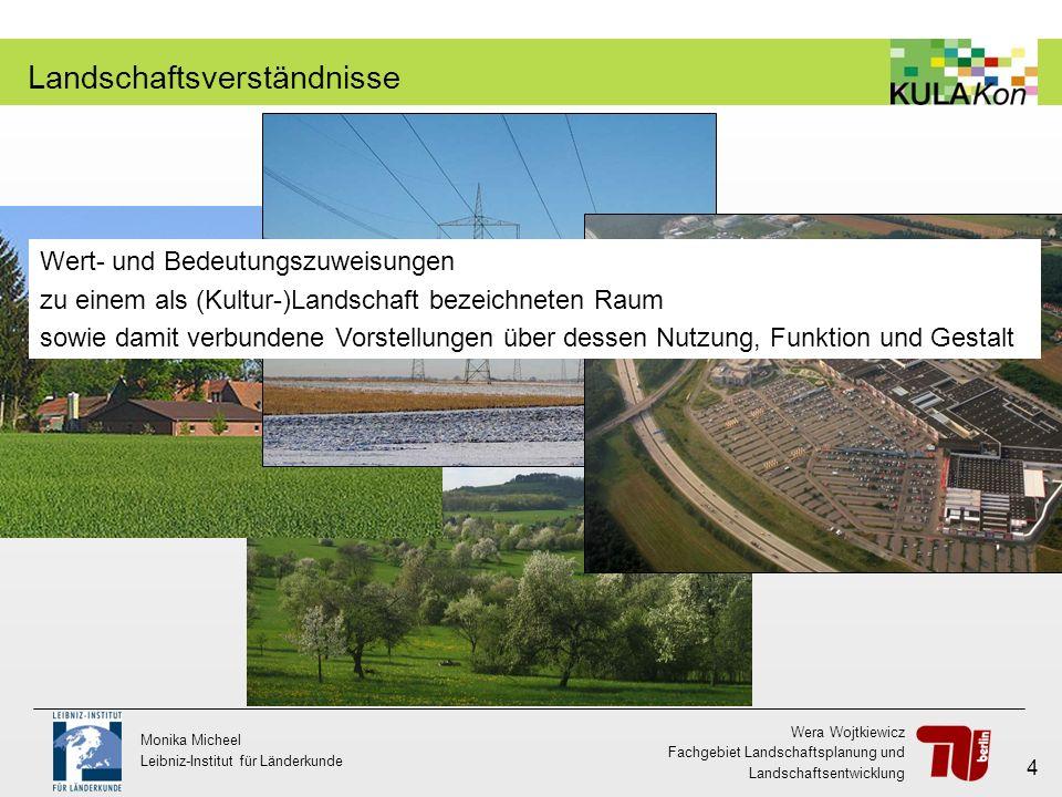 Wera Wojtkiewicz Fachgebiet Landschaftsplanung und Landschaftsentwicklung Monika Micheel Leibniz-Institut für Länderkunde 4 Landschaftsverständnisse W