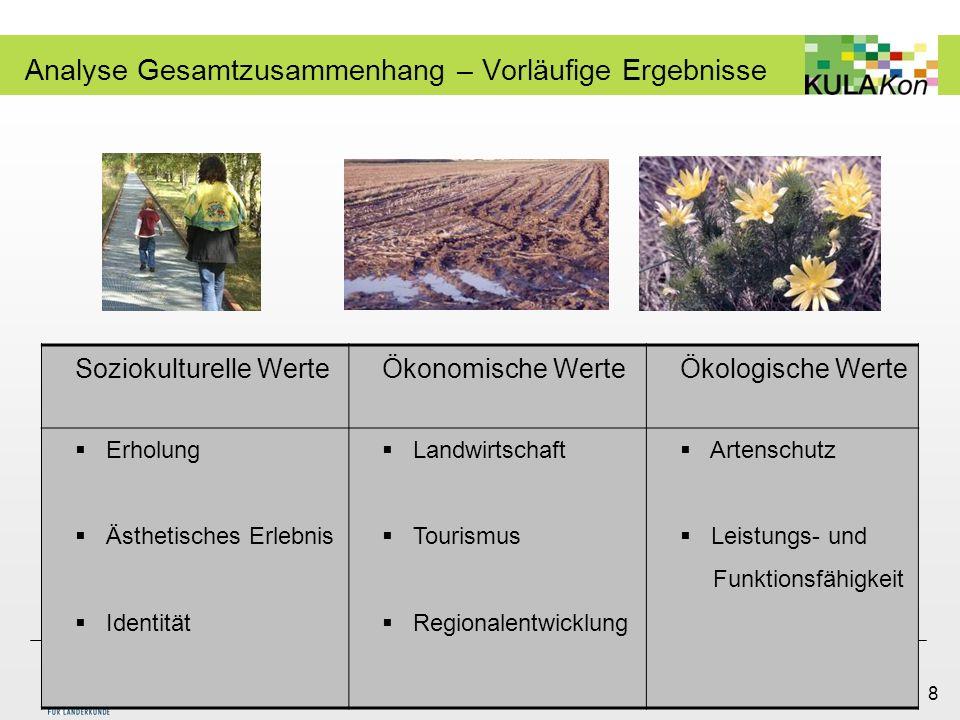 Wera Wojtkiewicz Fachgebiet Landschaftsplanung und Landschaftsentwicklung Monika Micheel Leibniz-Institut für Länderkunde 8 Analyse Gesamtzusammenhang