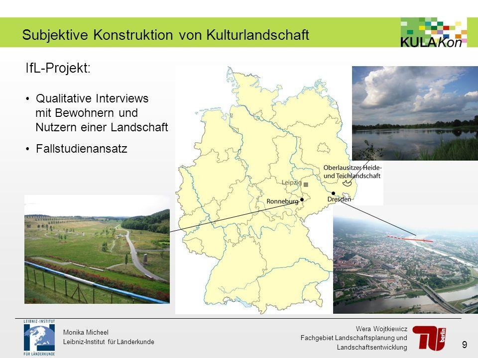 Wera Wojtkiewicz Fachgebiet Landschaftsplanung und Landschaftsentwicklung Monika Micheel Leibniz-Institut für Länderkunde 9 Subjektive Konstruktion vo