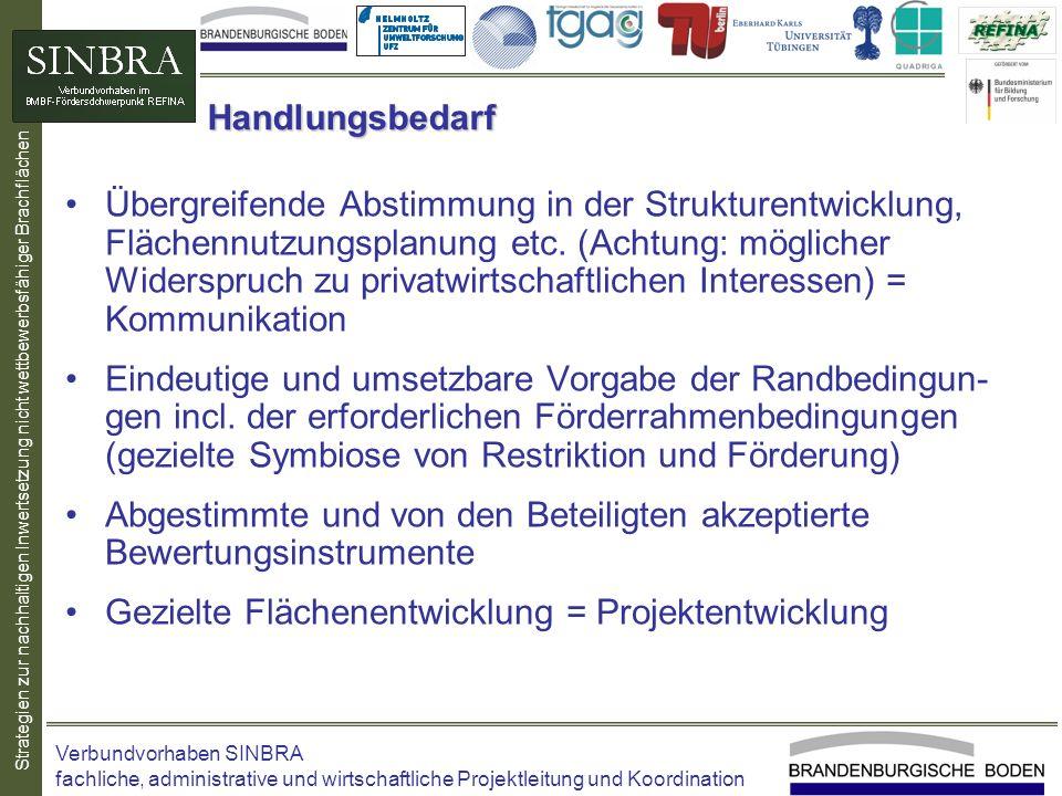 Strategien zur nachhaltigen Inwertsetzung nicht wettbewerbsfähiger Brachflächen Handlungsbedarf Übergreifende Abstimmung in der Strukturentwicklung, F