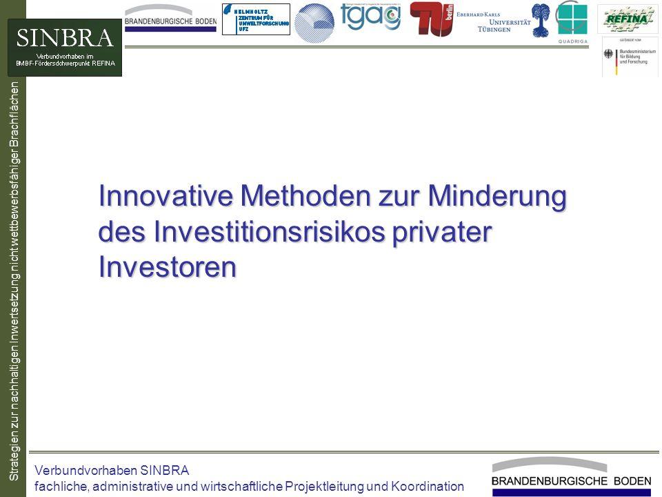 Strategien zur nachhaltigen Inwertsetzung nicht wettbewerbsfähiger Brachflächen Innovative Methoden zur Minderung des Investitionsrisikos privater Inv