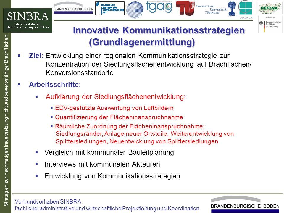 Strategien zur nachhaltigen Inwertsetzung nicht wettbewerbsfähiger Brachflächen Ziel: Entwicklung einer regionalen Kommunikationsstrategie zur Konzent
