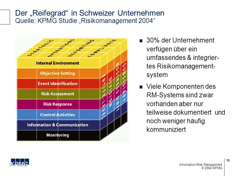 10 © 2004 KPMG Information Risk Management Der Reifegrad in Schweizer Unternehmen Quelle: KPMG Studie Risikomanagement 2004 30% der Unternehment verfügen über ein umfassendes & integrier- tes Risikomanagement- system Viele Komponenten des RM-Systems sind zwar vorhanden aber nur teilweise dokumentiert und noch weniger häufig kommuniziert
