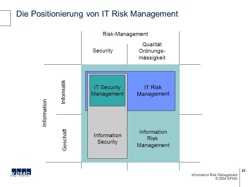 22 © 2004 KPMG Information Risk Management Die Positionierung von IT Risk Management Information Informatik Security Risk-Management IT Security Management Information Security IT Risk Management Information Risk Management Qualität Ordnungs- mässigkeit Geschäft