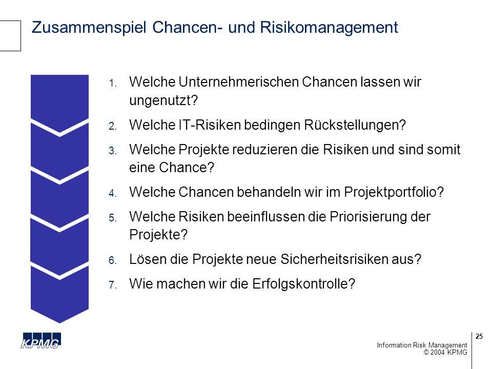 25 © 2004 KPMG Information Risk Management Zusammenspiel Chancen- und Risikomanagement Welche Unternehmerischen Chancen lassen wir ungenutzt.