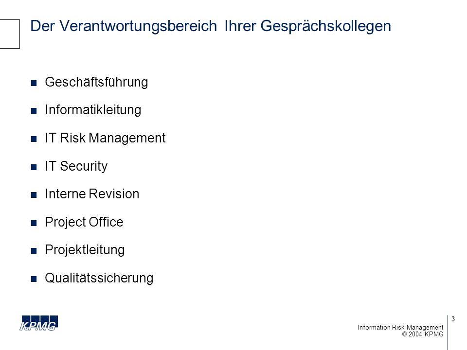 4 © 2004 KPMG Information Risk Management Vorstellung des Gastreferenten Dr.