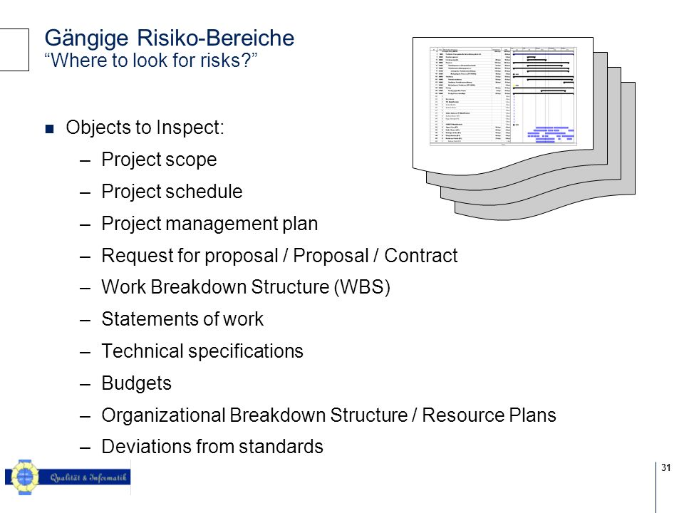 31 © 2004 KPMG Information Risk Management Gängige Risiko-Bereiche Where to look for risks? Objects to Inspect: –Project scope –Project schedule –Proj