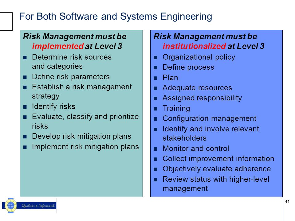 44 © 2004 KPMG Information Risk Management For Both Software and Systems Engineering Risk Management must be institutionalized at Level 3 Organization
