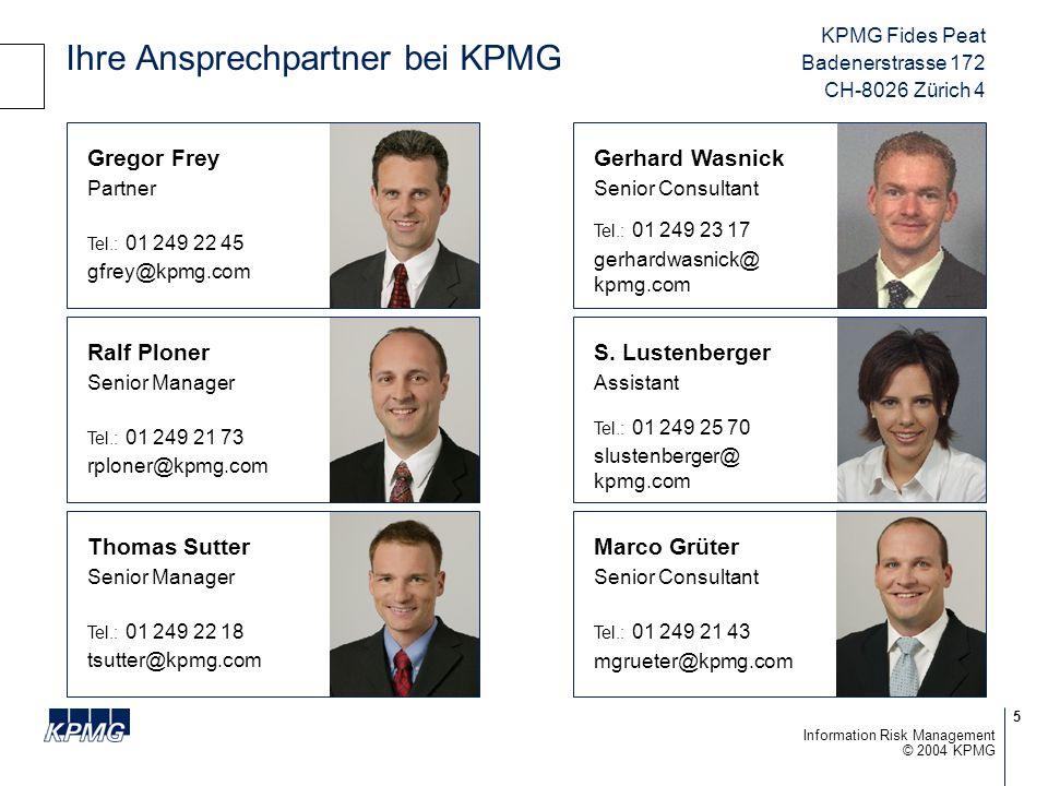 36 © 2004 KPMG Information Risk Management Beispiel Risk portfolio - DaimlerChrysler