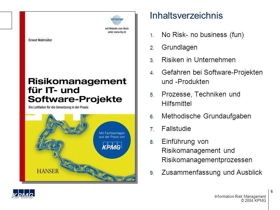 7 © 2004 KPMG Information Risk Management KPMG Expertenbeiträge Operational Risk Management und der Impact von Basel II für die Finanzdienstleister Stefan Ritsch Vertrauen dank der Informations- sicherheitsnorm BS 7799-2 (ISO 17799) Reto P.