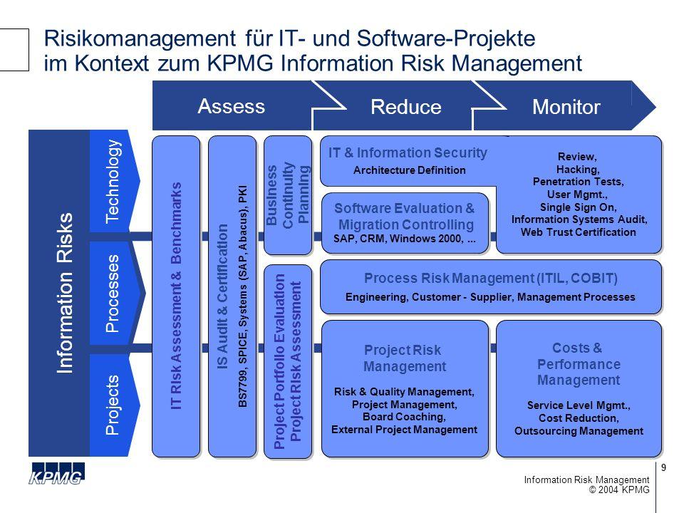 50 © 2004 KPMG Information Risk Management Fragen für die Diskussion Verantwortlichkeit: –Wer ist verantwortlich für das IT-Risikomanagement.