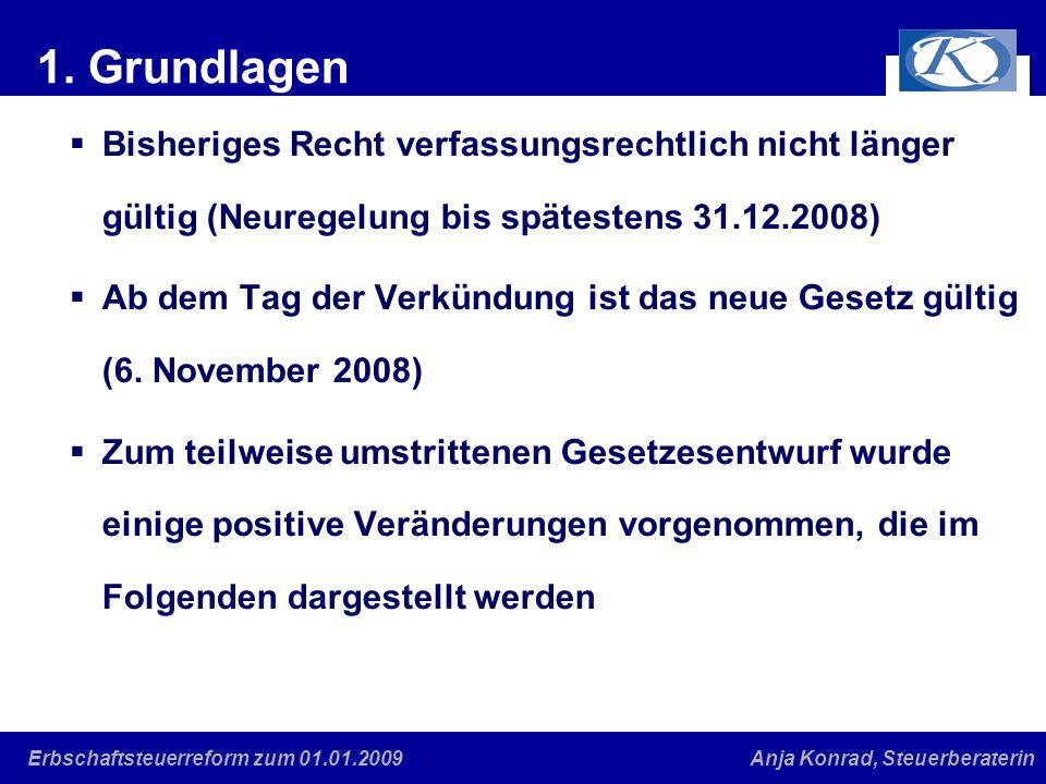 Eine gute Verbindung Anja Konrad, SteuerberaterinErbschaftsteuerreform zum 01.01.2009 1. Grundlagen Bisheriges Recht verfassungsrechtlich nicht länger