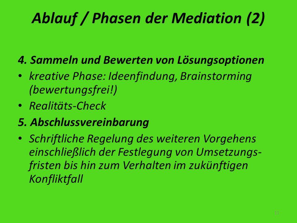 Ablauf / Phasen der Mediation (2) 4. Sammeln und Bewerten von Lösungsoptionen kreative Phase: Ideenfindung, Brainstorming (bewertungsfrei!) Realitäts-
