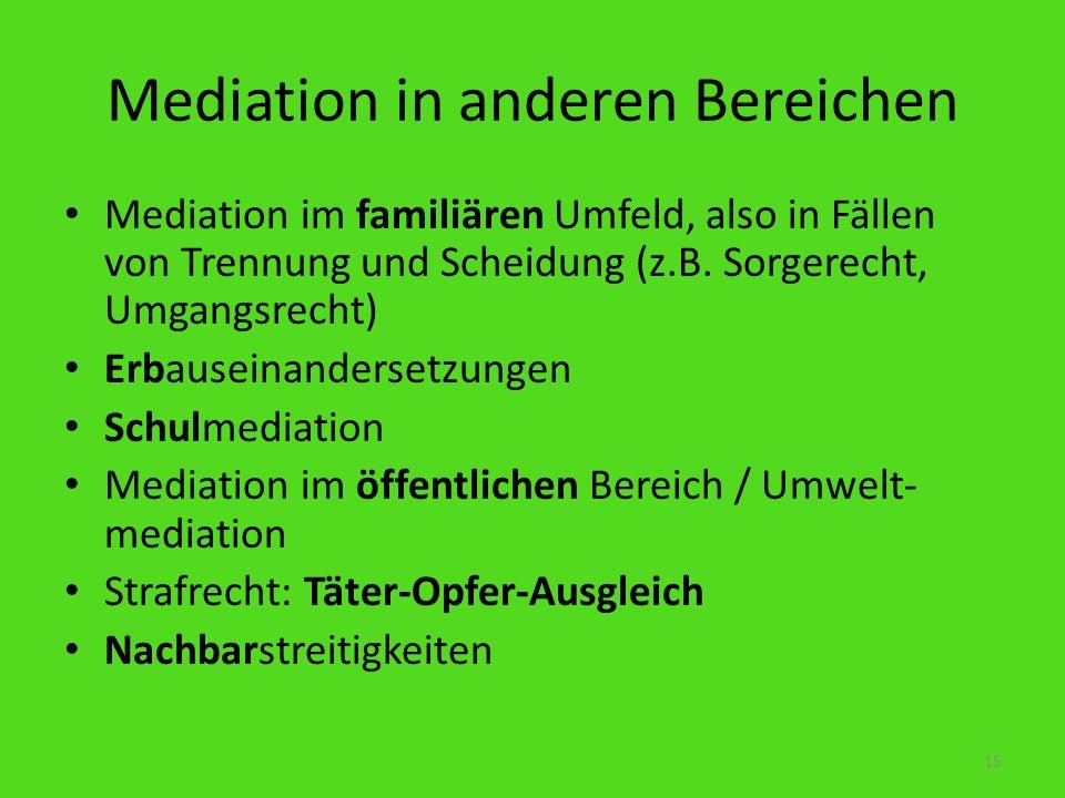 Mediation in anderen Bereichen Mediation im familiären Umfeld, also in Fällen von Trennung und Scheidung (z.B. Sorgerecht, Umgangsrecht) Erbauseinande