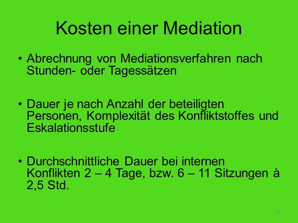 Kosten einer Mediation Abrechnung von Mediationsverfahren nach Stunden- oder Tagessätzen Dauer je nach Anzahl der beteiligten Personen, Komplexität de