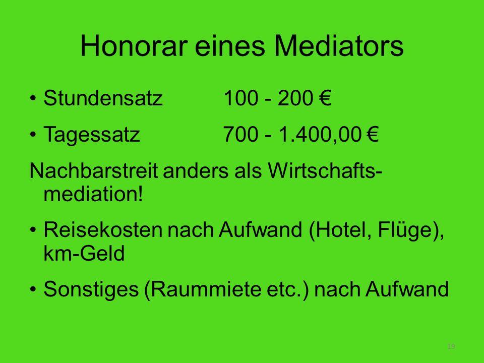 Honorar eines Mediators Stundensatz100 - 200 Tagessatz 700 - 1.400,00 Nachbarstreit anders als Wirtschafts- mediation! Reisekosten nach Aufwand (Hotel