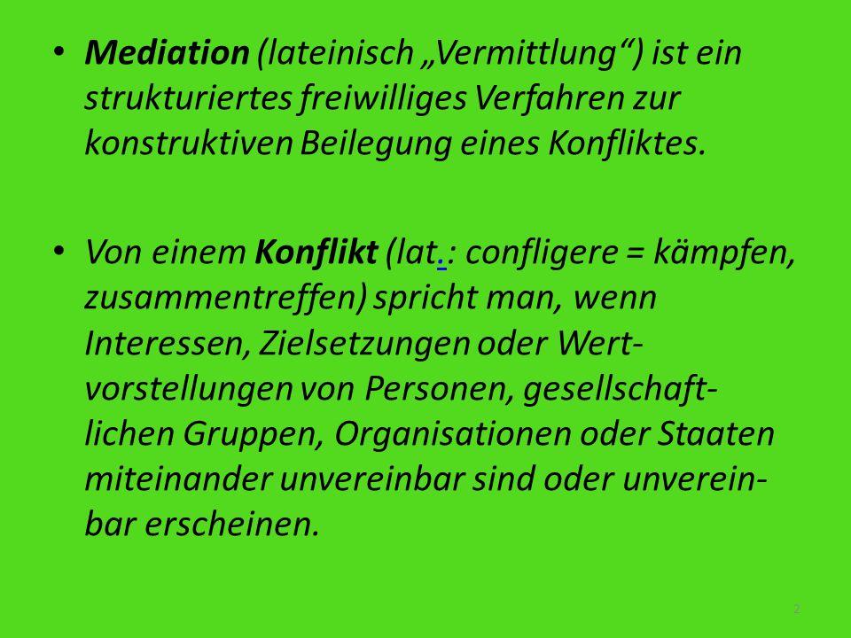 Mediation (lateinisch Vermittlung) ist ein strukturiertes freiwilliges Verfahren zur konstruktiven Beilegung eines Konfliktes. Von einem Konflikt (lat
