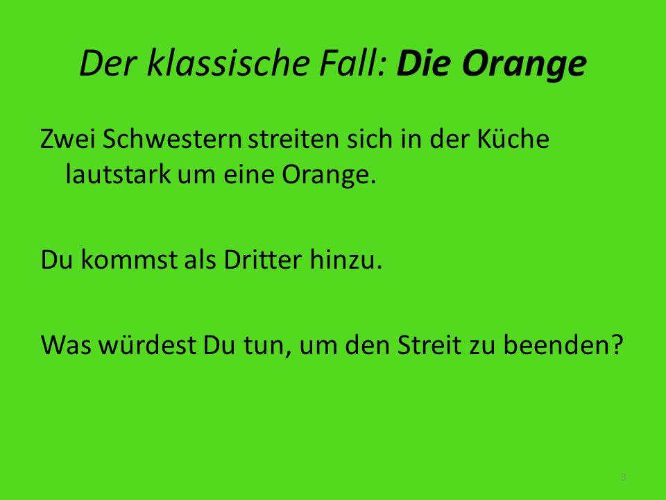 Der klassische Fall: Die Orange Zwei Schwestern streiten sich in der Küche lautstark um eine Orange. Du kommst als Dritter hinzu. Was würdest Du tun,
