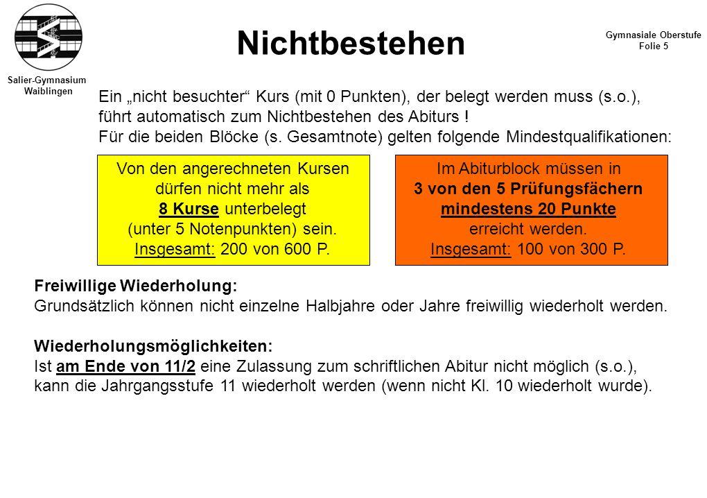 Salier-Gymnasium Waiblingen Nichtbestehen Gymnasiale Oberstufe Folie 5 Freiwillige Wiederholung: Grundsätzlich können nicht einzelne Halbjahre oder Jahre freiwillig wiederholt werden.