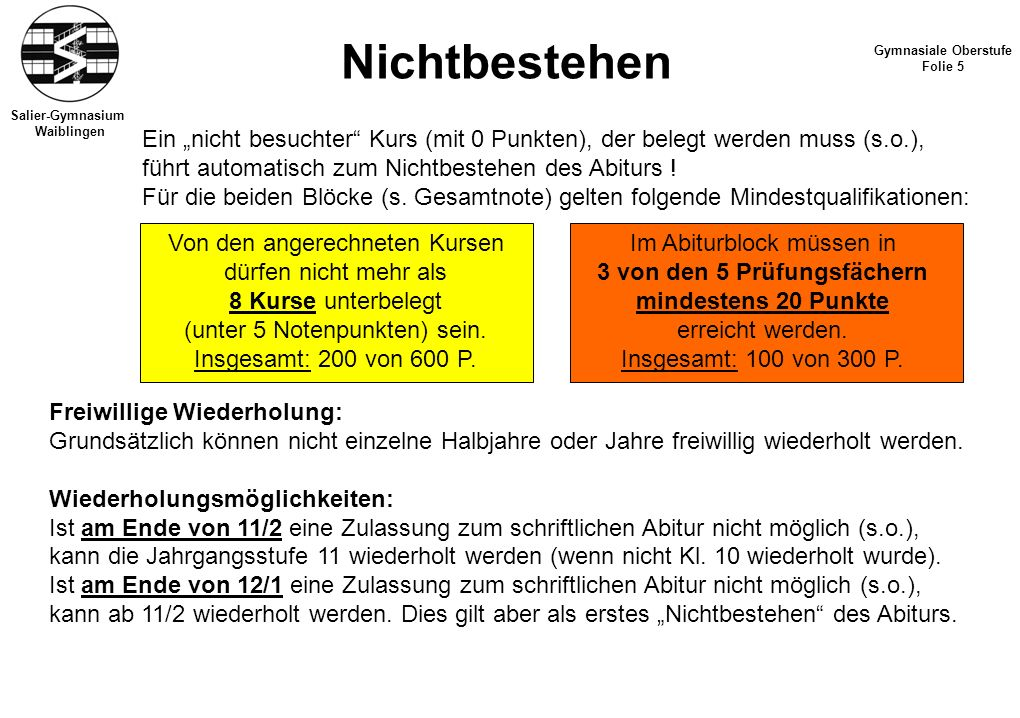 Salier-Gymnasium Waiblingen Nichtbestehen Gymnasiale Oberstufe Folie 5 Freiwillige Wiederholung: Grundsätzlich können nicht einzelne Halbjahre oder Ja