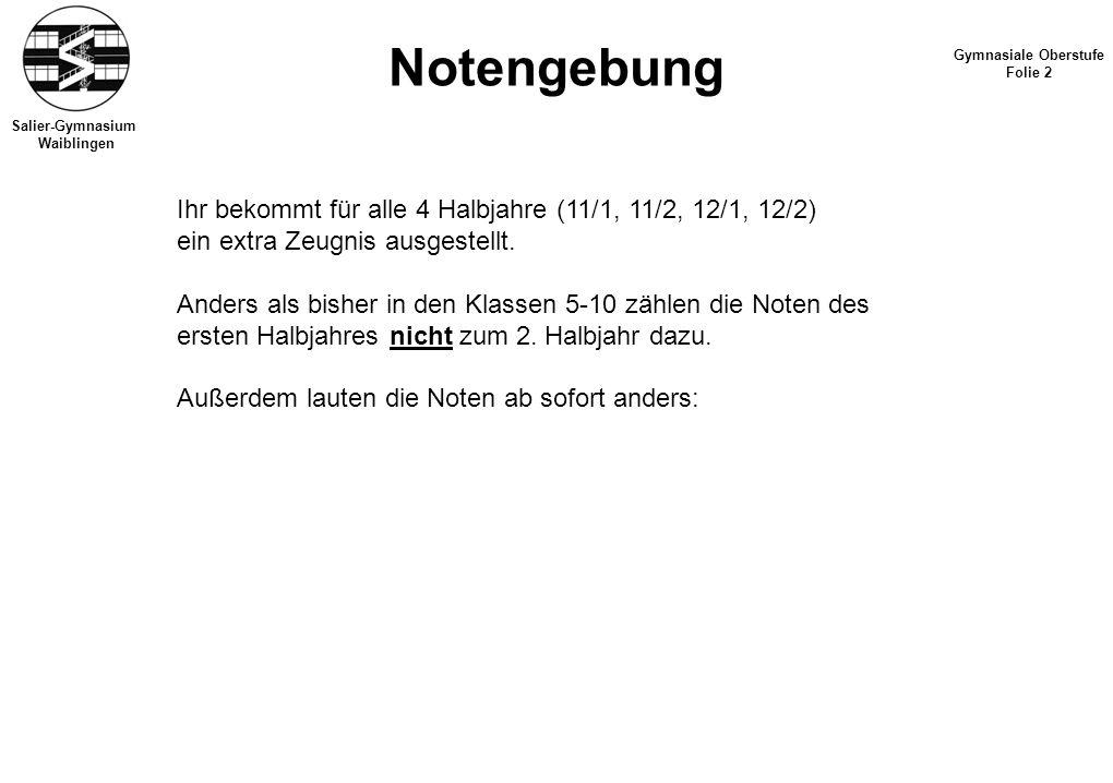 Salier-Gymnasium Waiblingen Notengebung Gymnasiale Oberstufe Folie 2 Ihr bekommt für alle 4 Halbjahre (11/1, 11/2, 12/1, 12/2) ein extra Zeugnis ausgestellt.