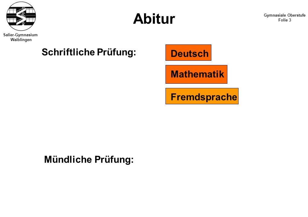 Salier-Gymnasium Waiblingen Abitur Gymnasiale Oberstufe Folie 3 Schriftliche Prüfung: Deutsch Mathematik Fremdsprache Mündliche Prüfung: