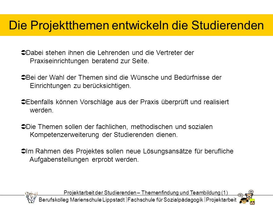 Berufskolleg Marienschule Lippstadt Fachschule für Sozialpädagogik Projektarbeit Die Projektthemen entwickeln die Studierenden Dabei stehen ihnen die Lehrenden und die Vertreter der Praxiseinrichtungen beratend zur Seite.