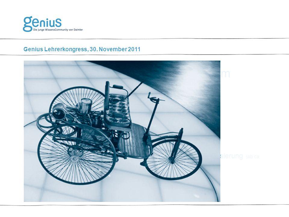 Genius Lehrerkongress, 30. November 2011 Geschichtliches: 1.Kfz 1.0: Kutsche mit Explosionskraftmotor (bis 1910) 2.Kfz 2.0: Motoroptimierung und Knaut