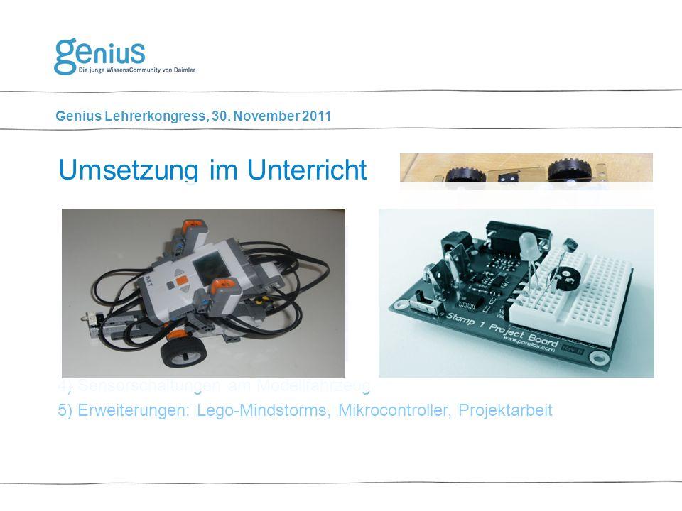 Genius Lehrerkongress, 30. November 2011 1) Sensorschaltungen simulieren (Yenka) 2) Grundlagen 3) Sensorschaltungen praktisch erarbeiten a.Steckprakti