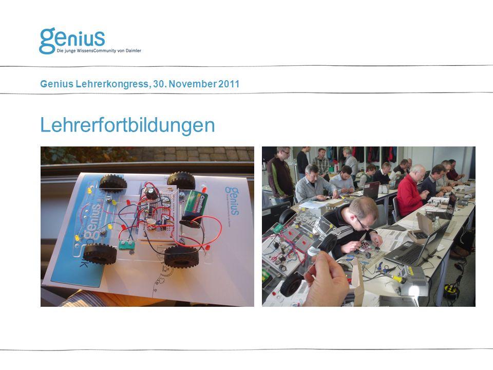 Genius Lehrerkongress, 30. November 2011 Lehrerfortbildungen