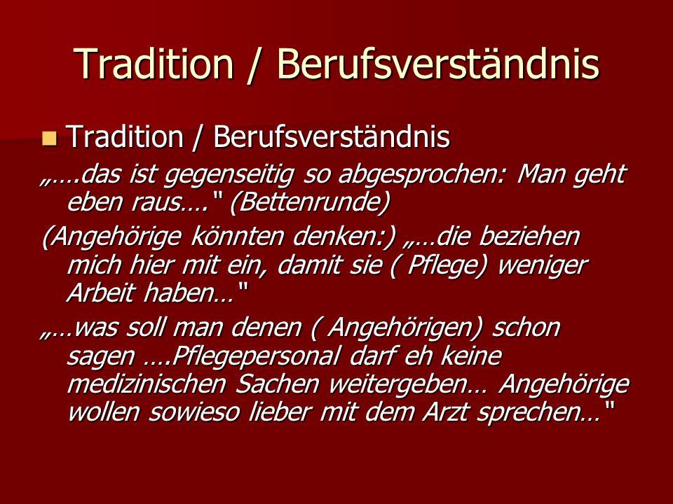 Tradition / Berufsverständnis Tradition / Berufsverständnis Tradition / Berufsverständnis ….das ist gegenseitig so abgesprochen: Man geht eben raus….