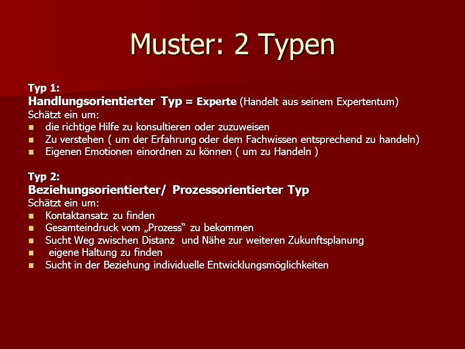 Muster: 2 Typen Typ 1: Handlungsorientierter Typ = Experte (Handelt aus seinem Expertentum) Schätzt ein um: die richtige Hilfe zu konsultieren oder zu