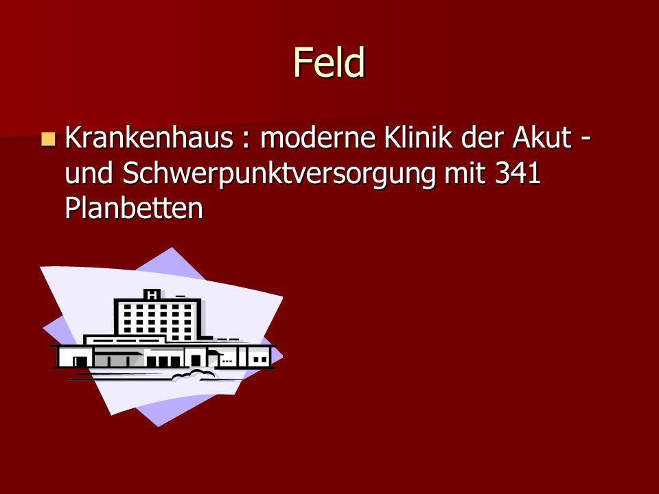 Feld Krankenhaus : moderne Klinik der Akut - und Schwerpunktversorgung mit 341 Planbetten Krankenhaus : moderne Klinik der Akut - und Schwerpunktverso