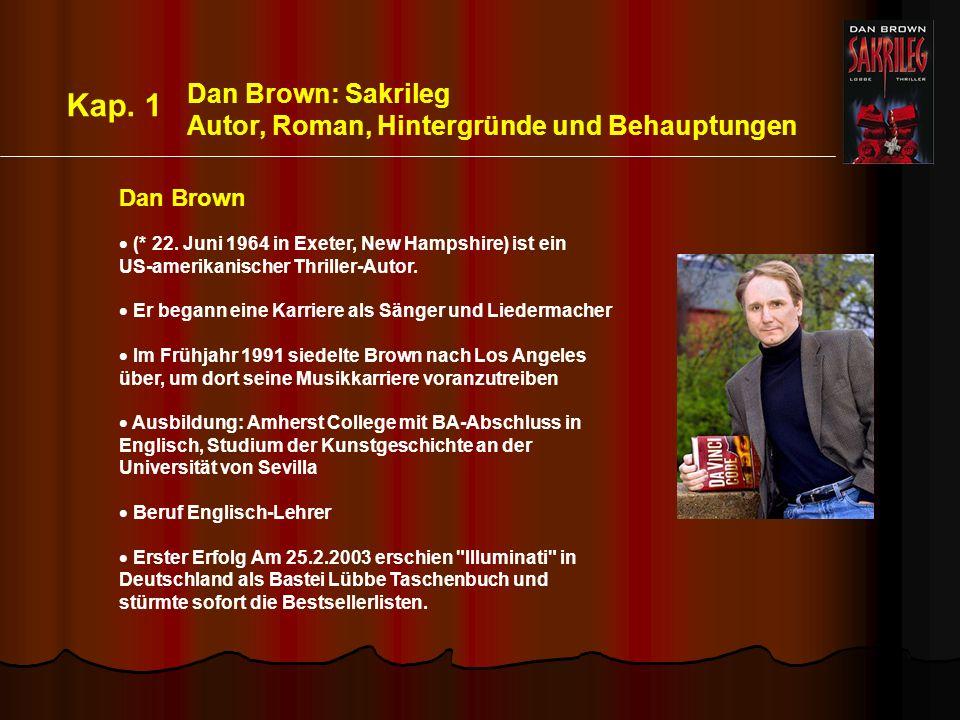 Dan Brown: Sakrileg Autor, Roman, Hintergründe und Behauptungen (* 22.