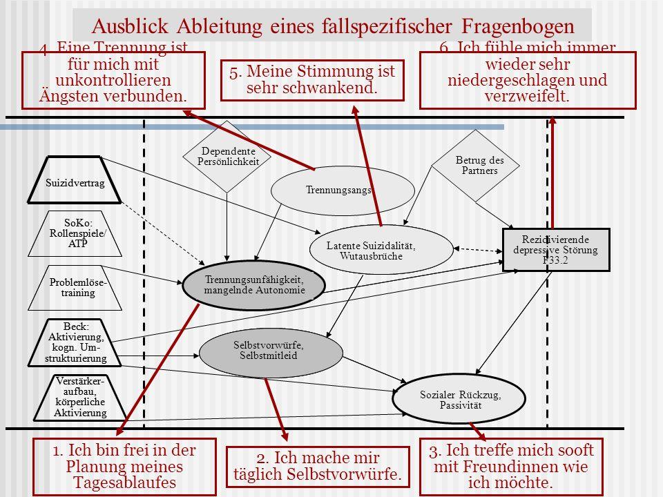 Ausblick Ableitung eines fallspezifischer Fragenbogen Rezidivierende depressive Störung F33.2 Dependente Persönlichkeit Betrug des Partners Trennungsa