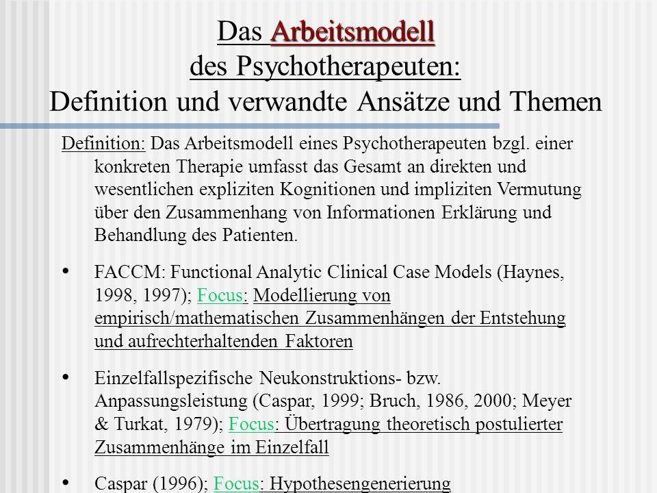 Definition: Das Arbeitsmodell eines Psychotherapeuten bzgl. einer konkreten Therapie umfasst das Gesamt an direkten und wesentlichen expliziten Kognit