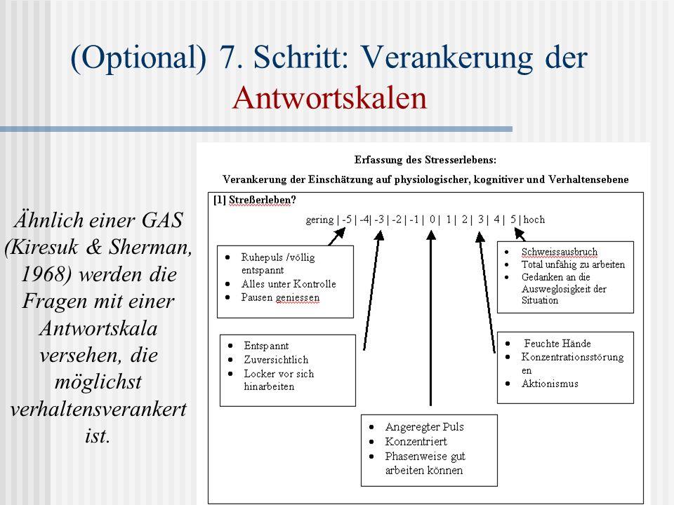 Ähnlich einer GAS (Kiresuk & Sherman, 1968) werden die Fragen mit einer Antwortskala versehen, die möglichst verhaltensverankert ist. (Optional) 7. Sc