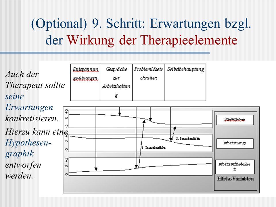 (Optional) 9. Schritt: Erwartungen bzgl. der Wirkung der Therapieelemente Auch der Therapeut sollte seine Erwartungen konkretisieren. Hierzu kann eine
