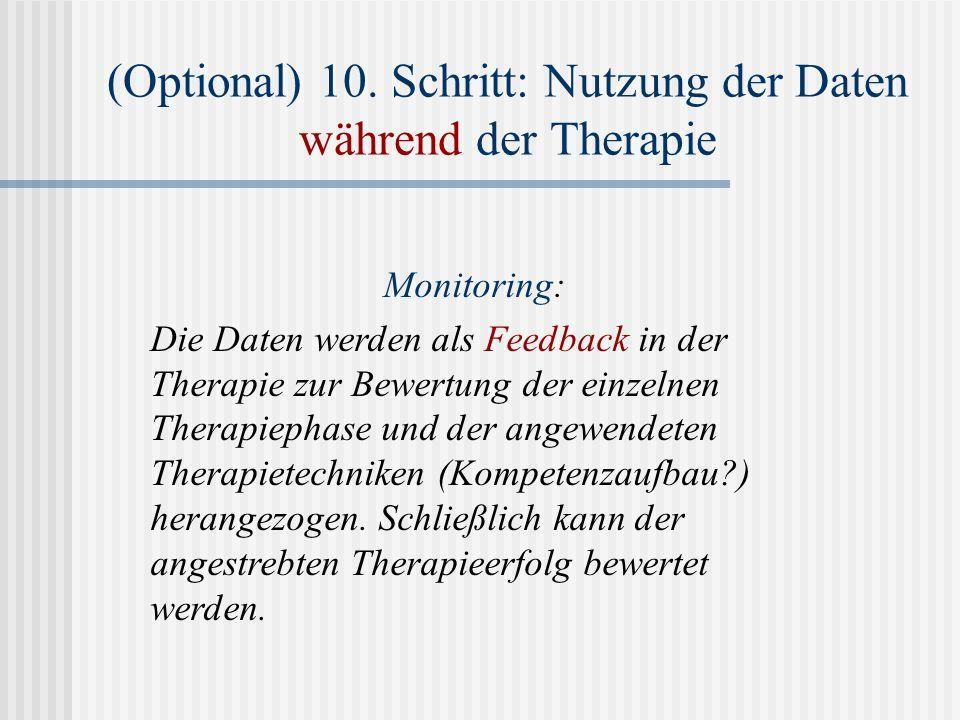 (Optional) 10. Schritt: Nutzung der Daten während der Therapie Monitoring: Die Daten werden als Feedback in der Therapie zur Bewertung der einzelnen T