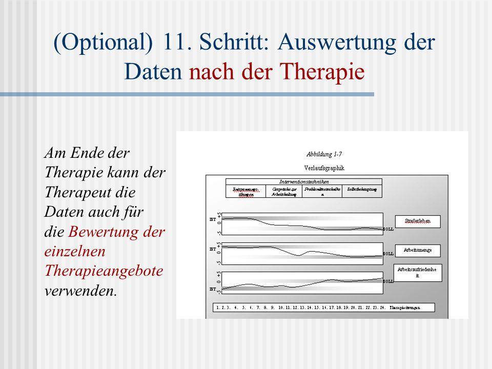 (Optional) 11. Schritt: Auswertung der Daten nach der Therapie Am Ende der Therapie kann der Therapeut die Daten auch für die Bewertung der einzelnen