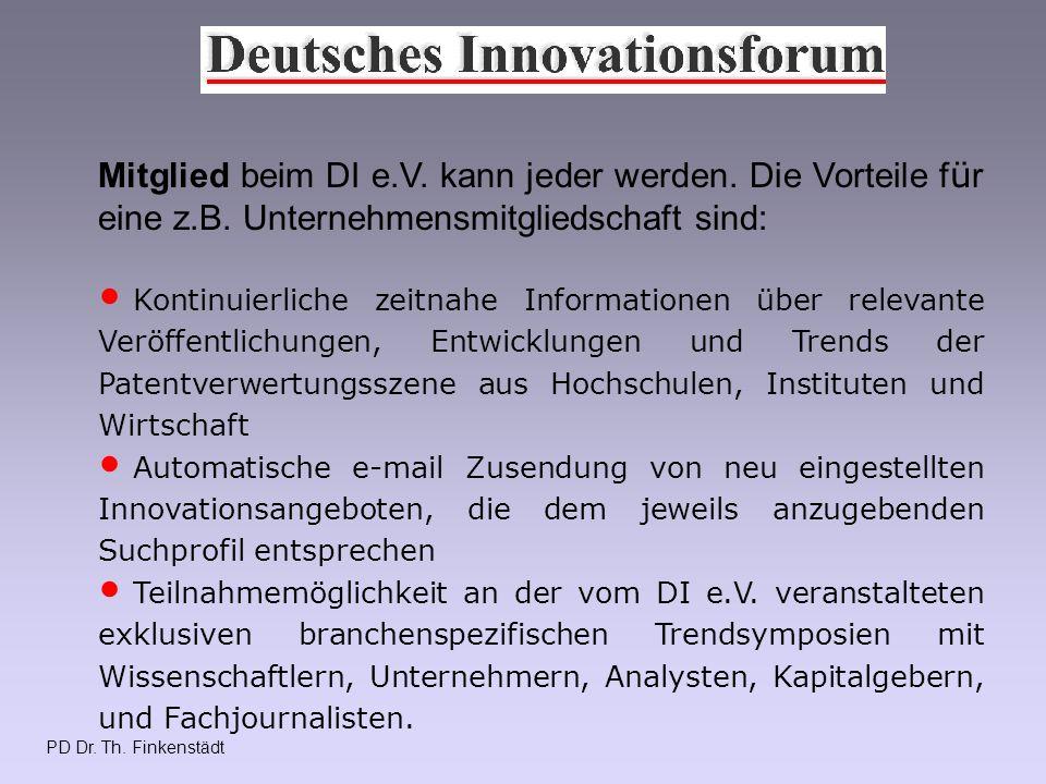 PD Dr. Th. Finkenstädt Mitglied beim DI e.V. kann jeder werden.