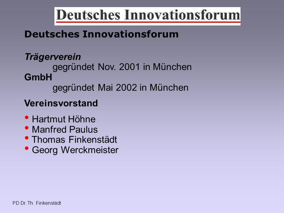 PD Dr. Th. Finkenstädt Deutsches Innovationsforum Trägerverein gegründet Nov.
