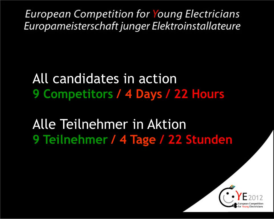 All candidates in action 9 Competitors / 4 Days / 22 Hours Alle Teilnehmer in Aktion 9 Teilnehmer / 4 Tage / 22 Stunden