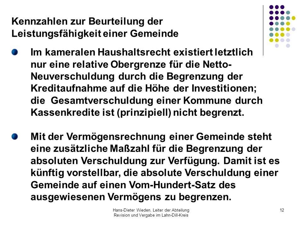Hans-Dieter Wieden, Leiter der Abteilung Revision und Vergabe im Lahn-Dill-Kreis 12 Im kameralen Haushaltsrecht existiert letztlich nur eine relative