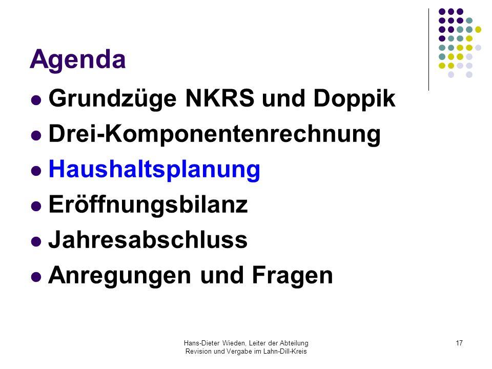 Hans-Dieter Wieden, Leiter der Abteilung Revision und Vergabe im Lahn-Dill-Kreis 17 Agenda Grundzüge NKRS und Doppik Drei-Komponentenrechnung Haushalt
