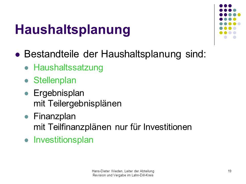 Hans-Dieter Wieden, Leiter der Abteilung Revision und Vergabe im Lahn-Dill-Kreis 19 Haushaltsplanung Bestandteile der Haushaltsplanung sind: Haushalts