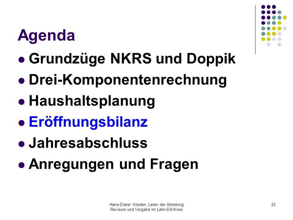 Hans-Dieter Wieden, Leiter der Abteilung Revision und Vergabe im Lahn-Dill-Kreis 22 Agenda Grundzüge NKRS und Doppik Drei-Komponentenrechnung Haushalt