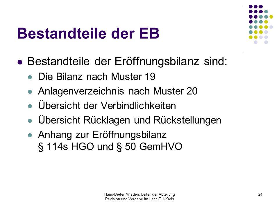 Hans-Dieter Wieden, Leiter der Abteilung Revision und Vergabe im Lahn-Dill-Kreis 24 Bestandteile der EB Bestandteile der Eröffnungsbilanz sind: Die Bi